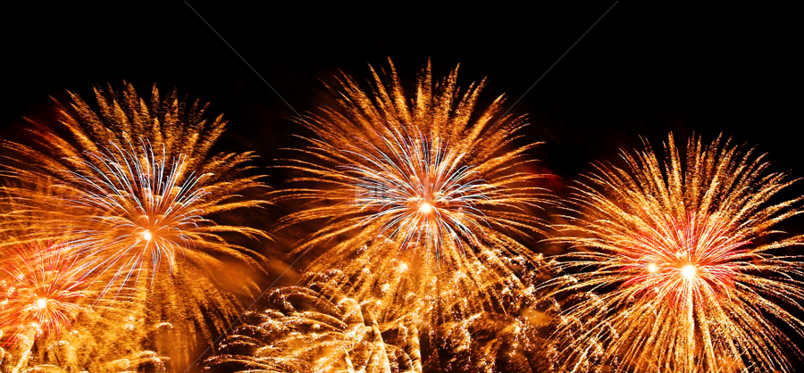 Three with Bad Hair by Kim McAvoy - Abstract Fire & Fireworks ( orange, explosion, fireworks, sparks, fire )