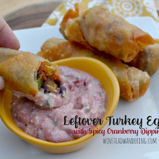 Leftover Thanksgiving Turkey Egg Rolls with Spicy Cranberry Dipping Sauce