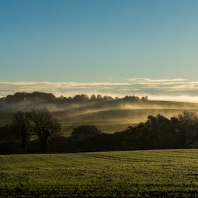 Foggy uk fields 3 by Octavian Oprea - Landscapes Prairies, Meadows & Fields ( countryside, hills, foggy, sky, grass, fog, green )