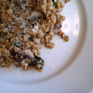 Vegetarian Barley Risotto with Mushrooms, Spinach and Ricotta Cheese