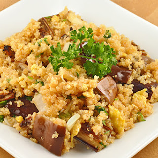 Stir-Fried Quinoa with Eggplant and Cabbage.