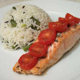 Tomato Baked Salmon with Steamed Rice Salad.