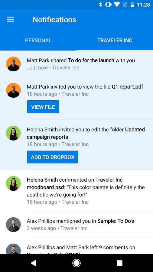 Dropbox: screenshot