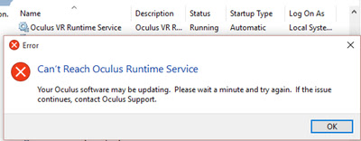 Fix Oculus Rift Can't Reach Oculus Runtime Service Error