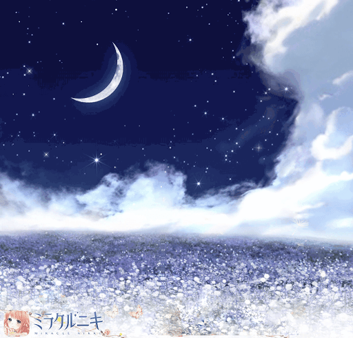 月の下、花の海