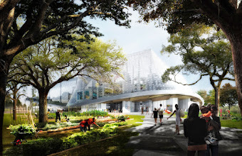 Photo: This rendering shows the west side of the proposed Huff project.  At ground level, the environment is newly restored. Employees will be drawn from offices to the outdoors, to work alongside waterways and under trees.Mountain View residents can walk or ride along green corridors, eat at cafes, shop, play in parks, or work in the public community gardens.  More info about our proposed new campus in Mountain View: http://g.co/go/y6pnk