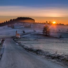 Morning rise by Peter Zajfrid - Landscapes Sunsets & Sunrises ( clouds, sunrise, chapel, road )