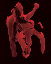"""Photo: © Olivier Perrot 1997-2008 photogramme  """"vivre à deux"""" mise en couleur  Tirage pigmentaire 40x50cm  Photogramme ayant servi dans publication CigaleN°5 commande sous forme de carte blanche  Ref : -01-324-326CMJN"""