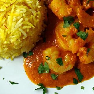 Quick Shrimp Rogan Josht with Saffron Basmati Rice