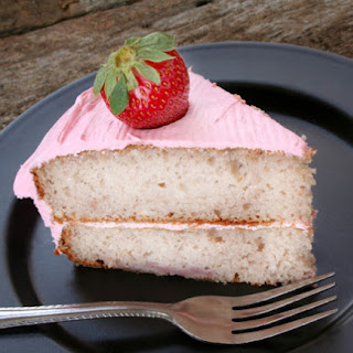 Amy's Simply Delicious Yellow Cake with Pink Buttercream Frosting.