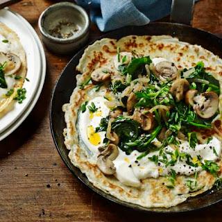 Mushroom And Spinach Pancakes.