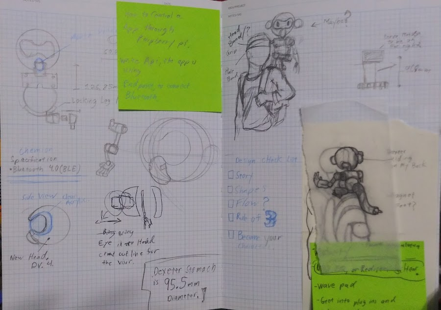 A couple of pages from Jorvon's extensive journal entries on his inventions