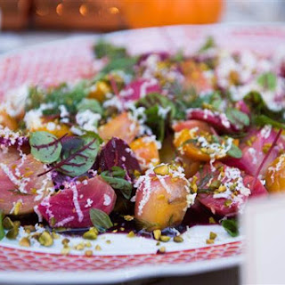 Beet Salad with Concord Grapes, Pistachios & Ricotta Salata