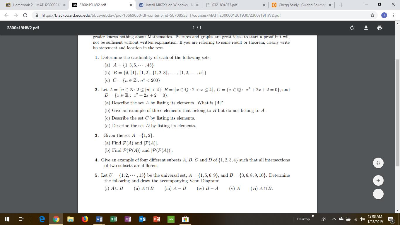 Solved: Bb Homework 2 - MATH2300001 X Bb 2300s19HW2 pdf XI
