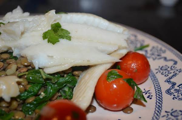 Turbot Over Lentils With Spinach Recipe