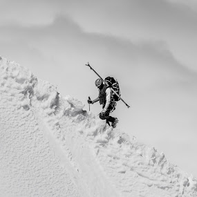 Warrior by Carlos Kiroga - Black & White Sports ( clouds, hill, alpinist, climbing, life, black and white, ice, snow, sports, france, alpine, alps )