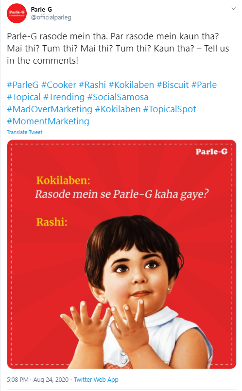 "The image shows how Parle-G leveraged the ""Rasode mein kaun tha"" trend to its advantage"