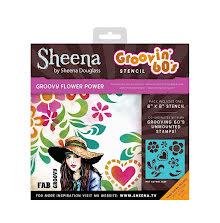 Sheena Douglass Groovin 60s 8x8 Stencil - Groovy Flower Power UTGÅENDE