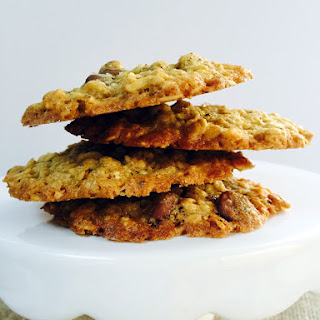 Healthier Thin and Crispy Salted Chocolate Chip Oatmeal Cookies Recipe