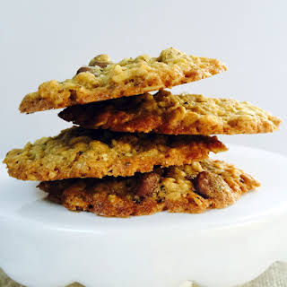 Healthier Thin and Crispy Salted Chocolate Chip Oatmeal Cookies.