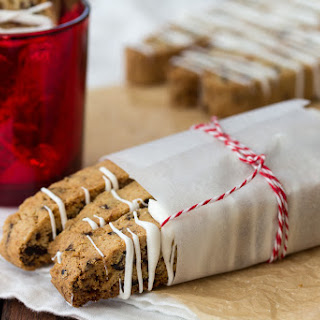 Cranberry Orange Biscotti With White Chocolate Drizzle