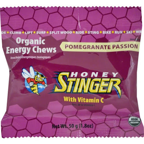 Honey Stinger Organic Energy Chews: Pomegranate, Passion Fruit, Box of 12