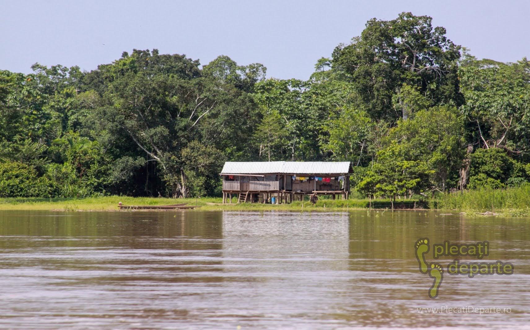 Casa izolata pe raul Huallaga, afluent al fluviului Amazonian, in jungla amazoniana, in Peru