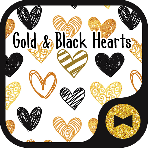 Cute Wallpaper Gold & Black Hearts Theme Icon