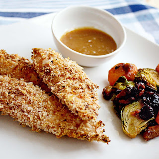 Baked Panko Crusted Chicken Strips with Apricot Dijon Mustard Dip