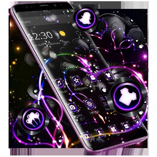 Violet Neon Black Flower Theme Icon