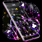 Violet Neon Black Flower Theme