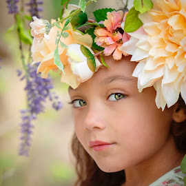 Flower girl by Stephanie Halley - Babies & Children Child Portraits ( spring, swing, eyes, flower, smile )