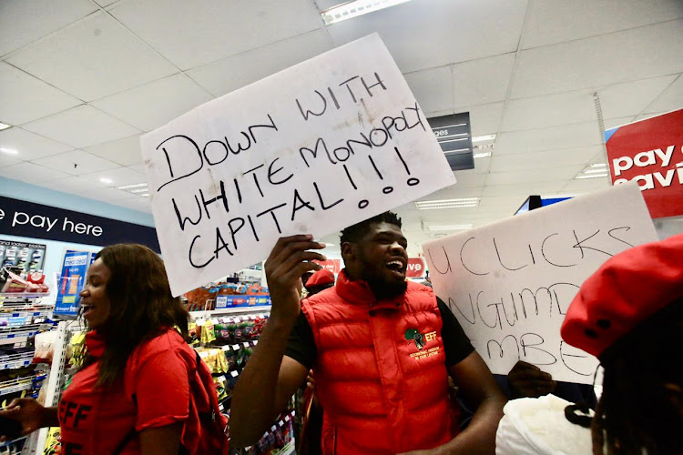 EFF protesters invaded the Clicks outlet in Oxford Street in East London to demonstrate against racism.