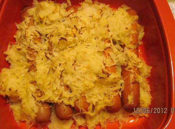 After 35 Minutes In A Preheated 350* Oven. The Sauerkraut Has A Bit Of A Brown Tinge To It. Yummy! 12/06/12