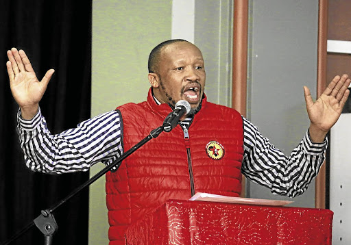 Galvanising workers: Numsa general secretary Irvin Jim claims some employers have warned workers not to join the nationwide mass action on Wednesday. The protest, organised by the South African Federation of Trade Unions, is against new labour laws. Picture: SUPPLIED