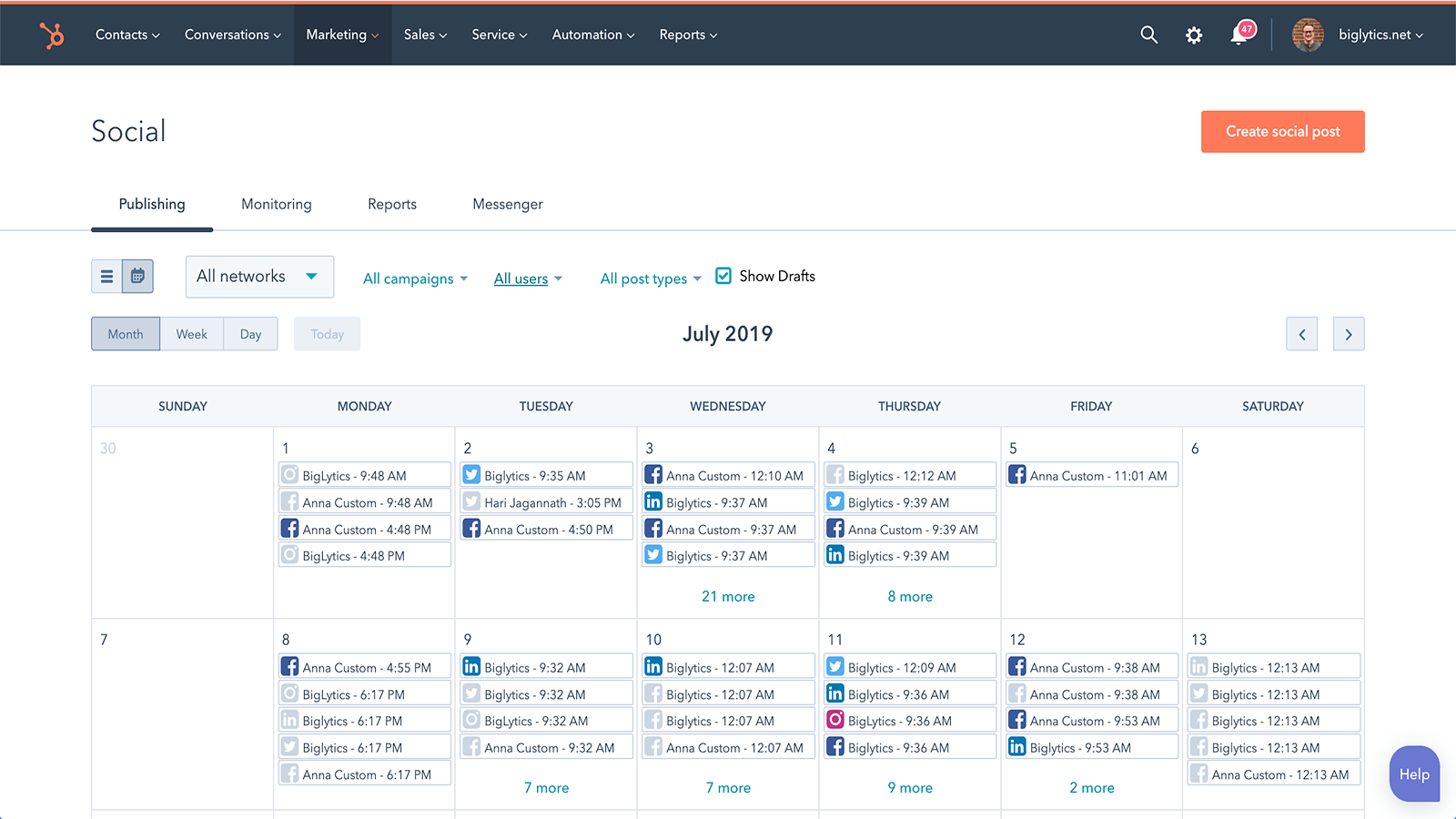 Marketing Hub Twitter Analytics Integration Social Media Posting Calendar Demo