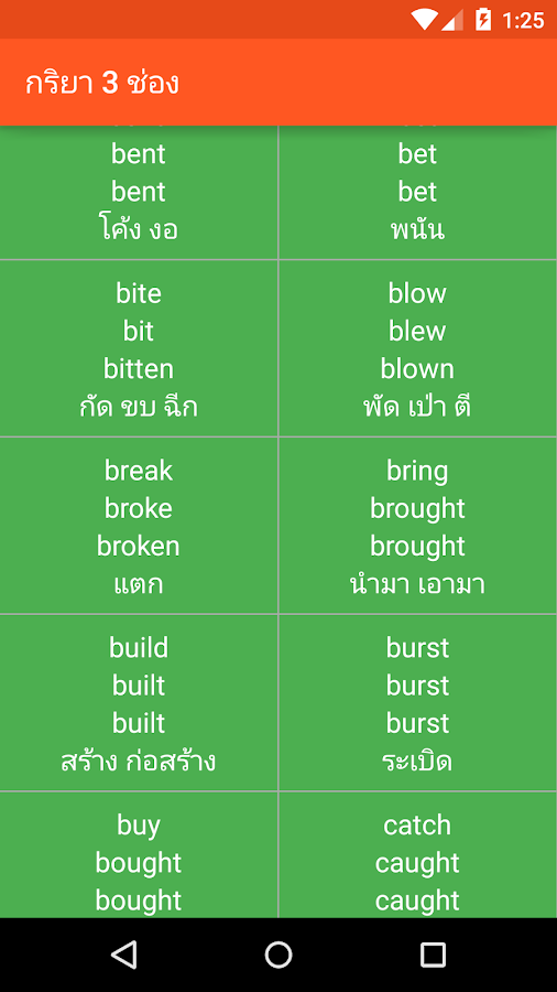Irregular Verbs- screenshot