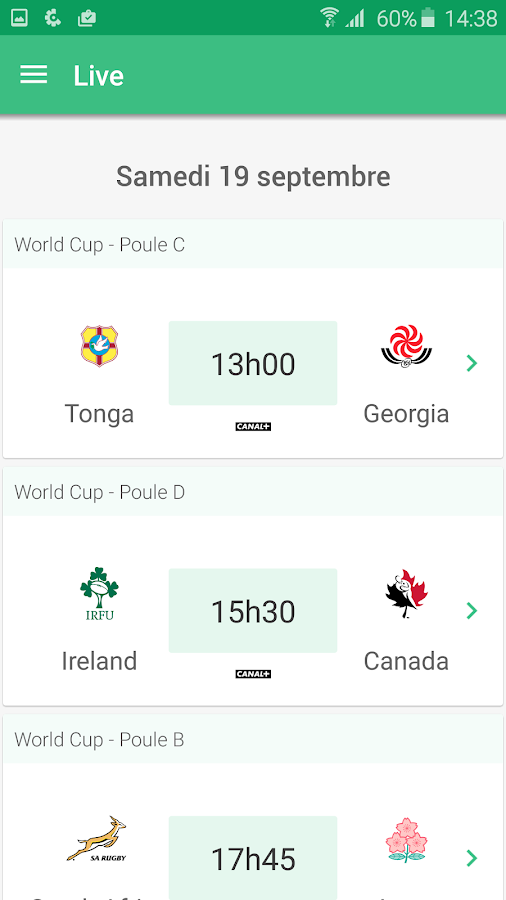 CANAL Rugby App- screenshot