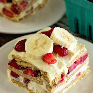 Skinny Strawberry Banana Ice Box Cake