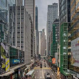 Street of Hong Kong by Keith Walmsley - City,  Street & Park  Skylines ( road, buses, buildings, offices, hong kong, cityscape, transport, trams )