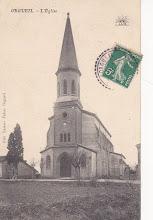 Photo: Orgueil (82) - L'église - carte du début des années 1900 postée à Orgueil destinée à Mademoiselle BUS 91 Grande Rue Saint-Michel 31 Toulouse