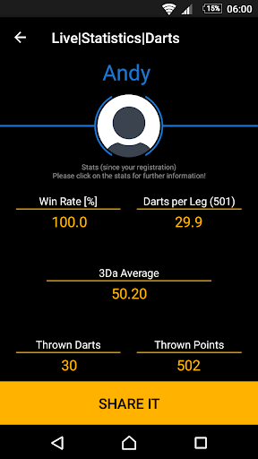 live statistics darts: scoreboard screenshot 3