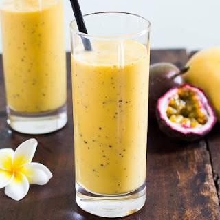 Easy Mango Lassi Recipe with Passion Fruit Juice.