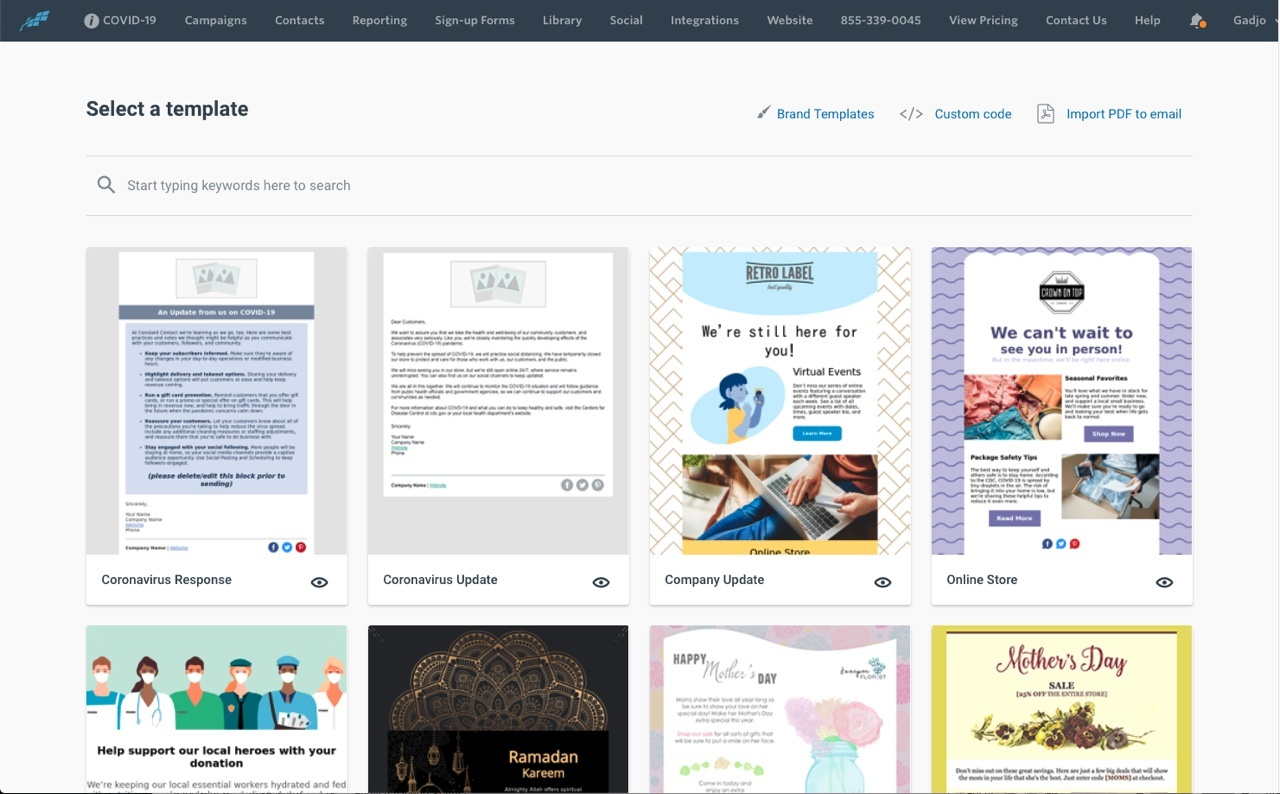 Constant Contact template page.