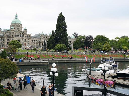 The Capitol Building and harbor of Victoria, British Columbia.