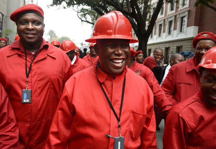 Economic Freedom Fighters (EFF) leader Julius Malema, centre, and other EFF members. Picture: TREVOR SAMSON