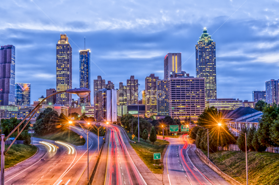 Atlanta Skyline by Jim Erickson - City,  Street & Park  Skylines ( freedom parkway, expressway at night, atlanta skyline, night, streaking lights )