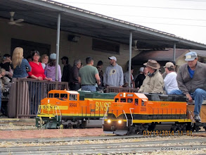 Photo: BNSF 9944 and BNSF 2008 with engineers Doug Blodgett and Brian Campopiano   2014-0315 DH3
