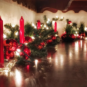 By candlelight  by Pamela Hammer - Public Holidays Christmas ( lights, red candles, christmas garland, reflections )