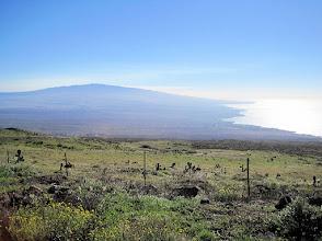 Photo: View of Mauna Kea volcano and the Kona Coast (west coast) of the Big Island  (looking south toward the town of Kailua-Kona). Taken from the road that runs  between Kapa'au and Waimea